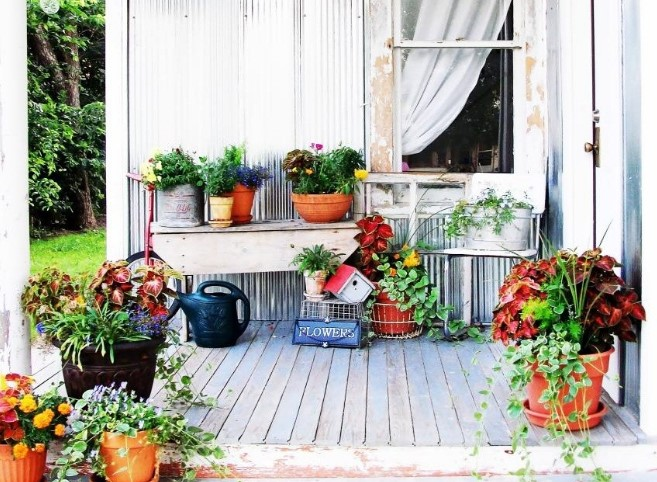front porch with beautiful flowers
