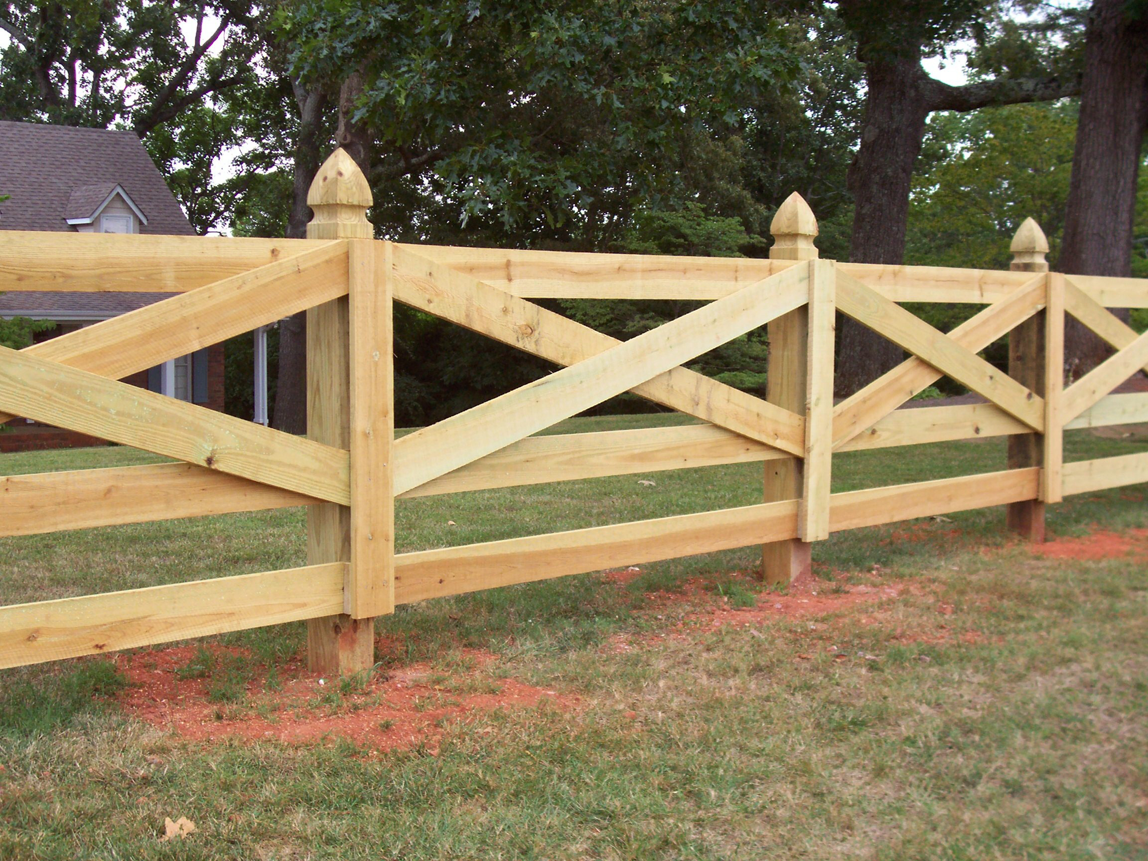 Wood Fences & Designs | Accurate Fence, Atlanta Fence Company |Wooden Farm Fence Post Tops